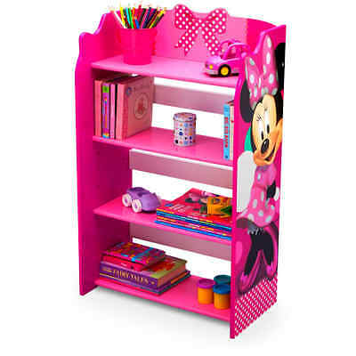 Minnie Mouse Bookshelf Kids Bookcase Bedroom Furniture Pink Organizer Playroom