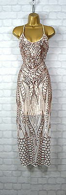 ~HAZEL~ Nude & Gold Sequin Lace Bodycon Evening Midi Maxi Party Dress 8 10 12 14