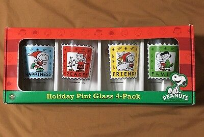 Peanuts Stamps Pint Glass Set of 4 Snoopy Charlie Brown Holiday Gift Collection