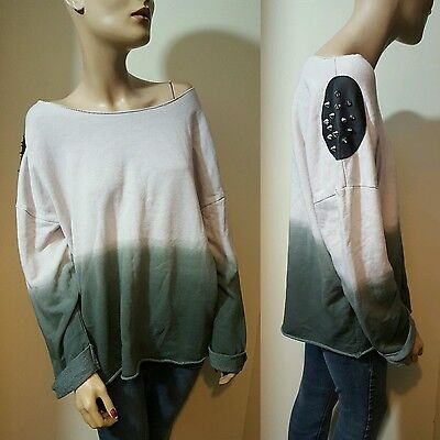 Topshop Beige Grey Ombre Studded Faux Leather Slouchy Jumper Sweater Size 14 16