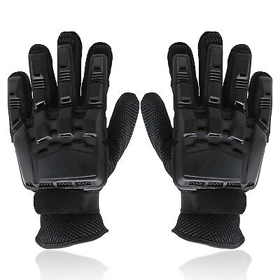 Full Finger Gloves Armored Paintball Airsoft Gloves for Motocross Cycling Black
