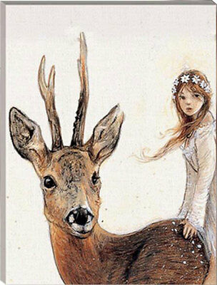 Framed Painting by Number kit The Reindeer and Maiden Deer Animal Girl HT7083