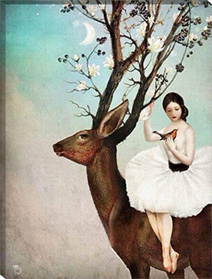 Framed Painting by Number kit The Reindeer and Maiden Deer Animal Lady HT7084