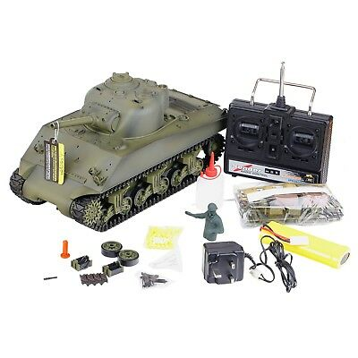 New 2.4G Radio Remote Control Sherman M4A3 RC Tank Smoking Sounds BB Airsoft