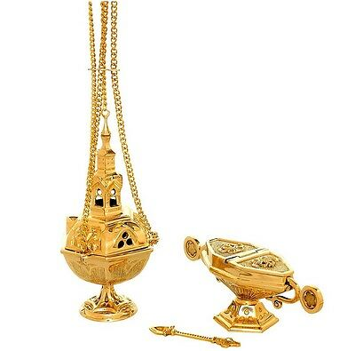 Beautiful Ornate Censer Thurible and Boat Set FREE SHIPPING WORLDWIDE