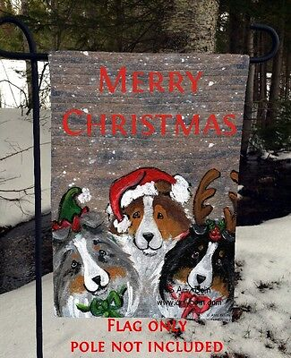 SHELTIE SHETLAND SHEEPDOG Christmas Buddies 12x18 GARDEN FLAG no pole Amy Bolin