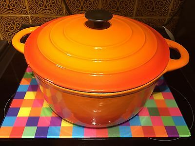 Cast Iron Casserole Dish Pot Pan with Lid  28cm Round, Orange BNWB
