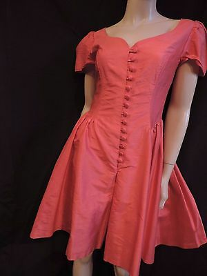 Robe  Soie Rouge Corail  Laura Ashley T 36/38 / Vintage Silk Cocktail  Dress