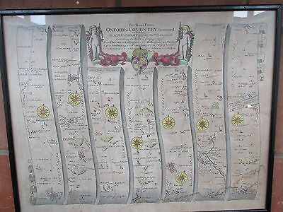 C1675 Original John Ogilby Road Map Oxford To Coventry