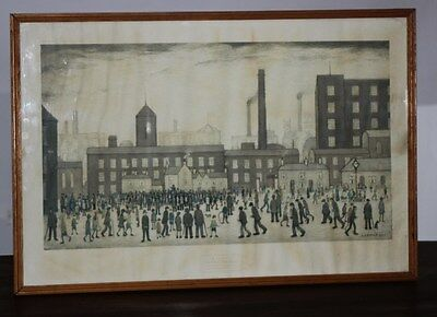 "Vintage Framed Print ""OUTSIDE THE MILLS"" L. S. Lowry (Born 1887) c1928  [PL2665]"