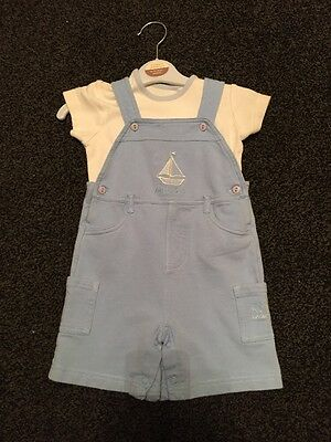Baby Boys Pale Blue Dungarees Set Age 6-9 Months