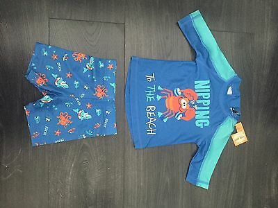 Baby Boys 2 Piece Swimsuit 9 - 12 Months Crab Spf 40+ New