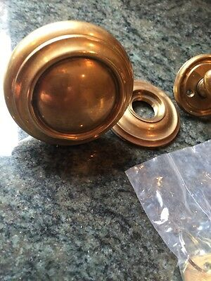 Vintage Baldwin 2 1/2 Inch Diameter Solid Brass Round With Back Plate Knob +