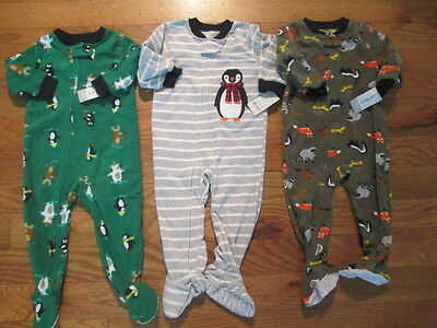 3 piece LOT of baby boy fall/winter pajamas size 18 months NWT
