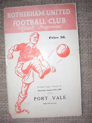1955...ROTHERHAM v PORT VALE.. Div 2..(photo's of all pages shown)