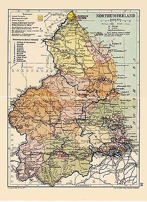 An antique map of Northumberland, England, C1897.