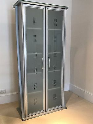 Tall Filing Cupboard Frosted Glass Doors 4 adjustable shelves 195 x 90 x 45cm