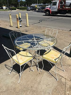 Vintage Wrought Iron Round Glass Top Patio Table & Fabric Chair Dining Set
