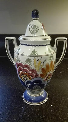 Vintage Delft urn or vase, hand painted and signed, with top and handles
