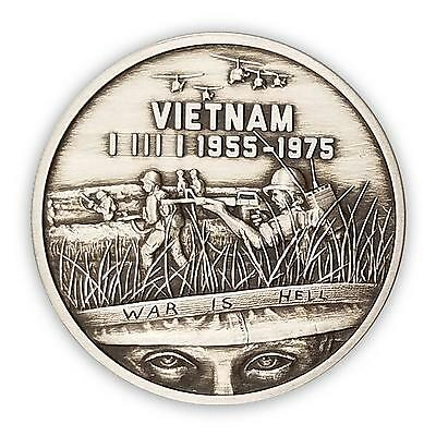 "Heroes Series SDWC ""War Is Hell"" 1 oz Silver Round USA Vietnam War Antiqued Coin"