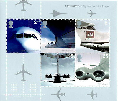 Gb 2002 Airliners Mini Sheet  Fifty Years Of Jet Travel Ms2289 Mint