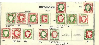 Heligoland 1867/75 Collection Page Mint Mounted Including Rarer