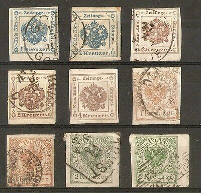 Austria Imperial Journal Stamps Selection (9) Mainly Used