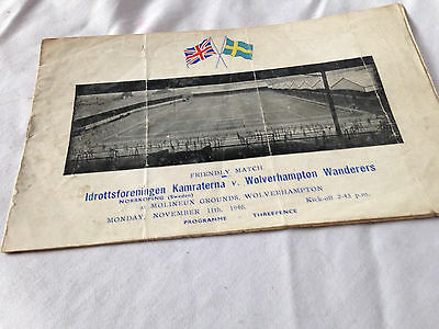 Wolves V Ifk Norrkoping    Friendly Original Programme 11Th  November 1946 Vgc