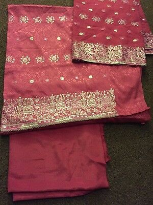 Ladies Pakistani Indian Unstitch 3 Piece Suit Pink Shalwar Kameez Duppata UK
