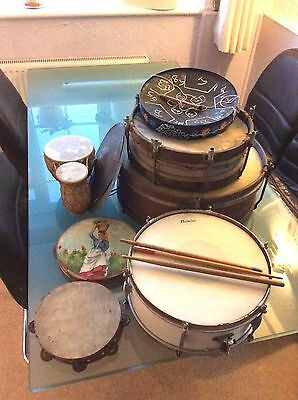 OLD vintage Hawkes & Son Drum Serial no 1800 goat kettle tambourine snare cymbal