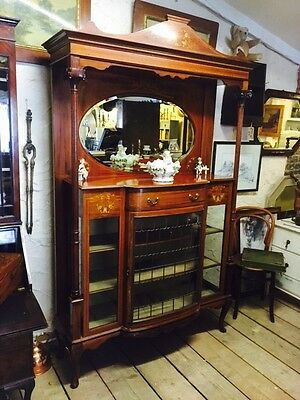 Edwardian Bow Fronted Mirror Back Display Cabinet