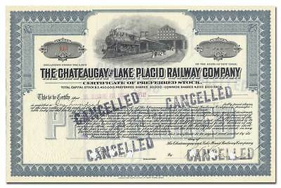 Chateaugay and Lake Placid Railway Company Stock Certificate