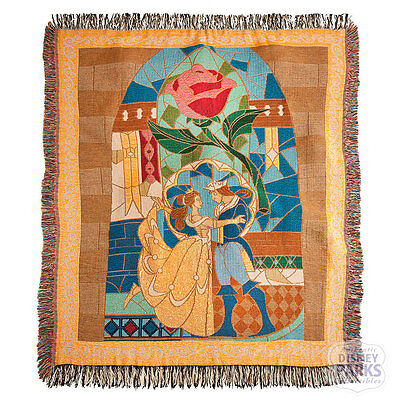 Disney Parks Beauty and the Beast Throw Woven Blanket Stained Glass Belle Rose