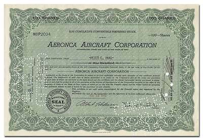 Aeronca Aircraft Corporation Stock Certificate (The Flying Bathtub)