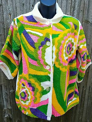 Vtg 1960's Psychedelic Mod Hippie Terry Cloth NEON Swimsuit Pool Cover Up Dress