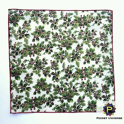 CHRISTMAS HOLLY PATTERN QUALITY COTTON POCKET SQUARE POCKET UNIVERSE 30 x 30 CM