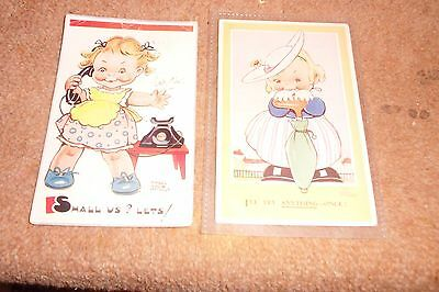 2 Vintage Very Old Collectable Mabel Lucie Attwell Postcards-1 Unused