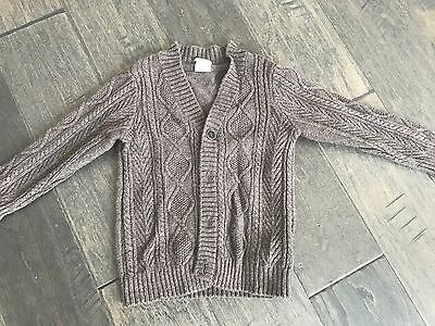 Boys Light Brown Cardigan Button Cable Knit Sweater 1 1/2 - 2 H&M HM Holiday