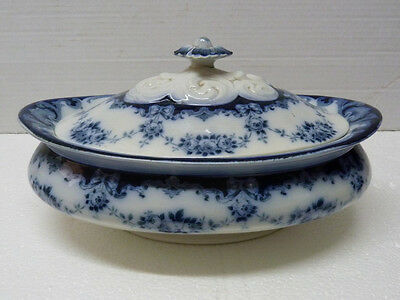 "Antique Victorian English Porcelain Flow Blue Tureen ""Garland"" Leighton Pottery"