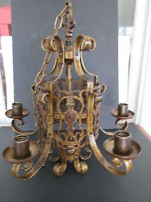 Vintage GOTHIC Cast Metal Ceiling 5 Light Hanging Chandelier Art Deco Antique