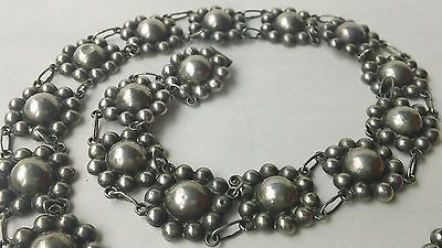 """Vintage 1940S Mexico Sterling Silver Relief Domes 29"""" Concho Belt Or Necklace"""