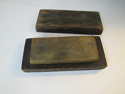 Antique Sharpening Hone Barber Stone in Wooden Case Very Old