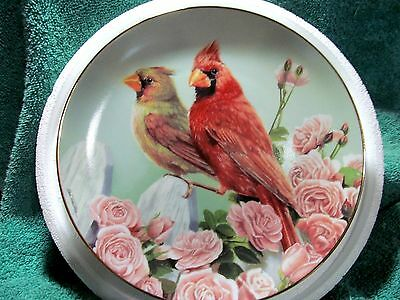 Cardinals for all Seasons The Rose Garden Plate by Bob Travers The Danbury Mint