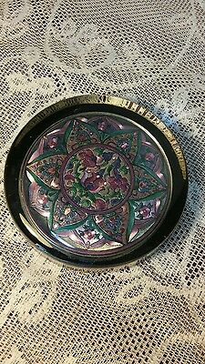 """Pretty Pink Turquoise Design Glass Paperweight 3.5"""" Diameter."""