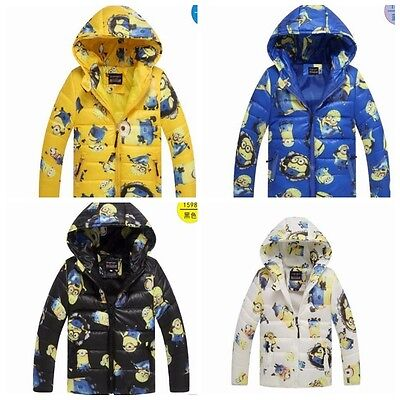 HOT!MinionJacket Kids Down Jacket For Boy Baby Minion Clothes Winter Down Coat