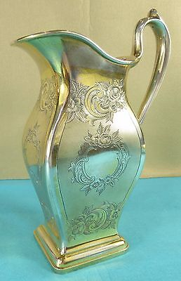 Superb French Sterling Silver Gilt Wine Jug Pitcher Chased Engine Turned Ca 1850