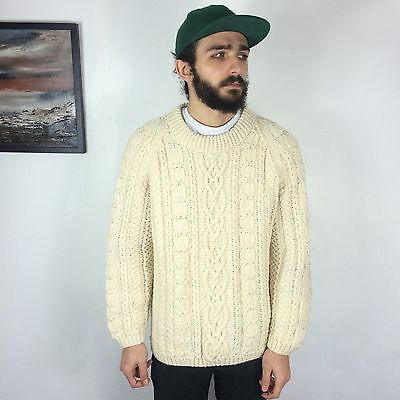 Hand Knitted Aran Men's Sweater Christmas Cream Cable Knit Chunky Jumper Wool Xl