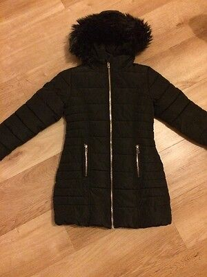 Girls Black Thick Padded Winter Coat with hood from Next age 7 years