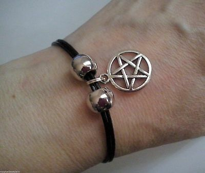 Leather Bracelet with Pentagram Charm - Pagan