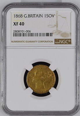 1868 Queen Victoria Great Britain London Mint Gold Sovereign Coin NGC XF 40